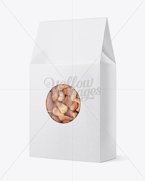 Glossy Paper Box W/ Window Mockup - Halfside View