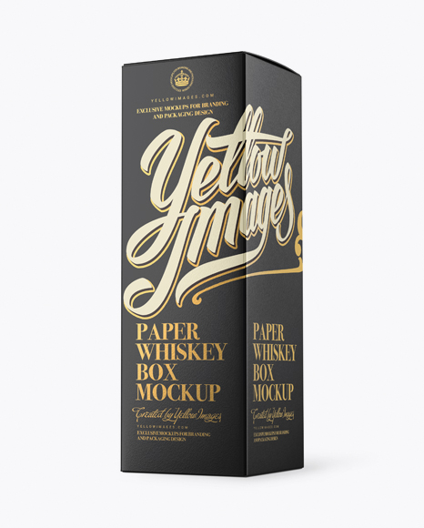 Download Free Paper Whisky Box Mockup - Halfside View PSD Template