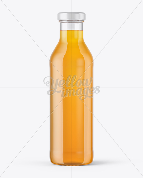 Clear Glass Bottle with Soft Drink Mockup