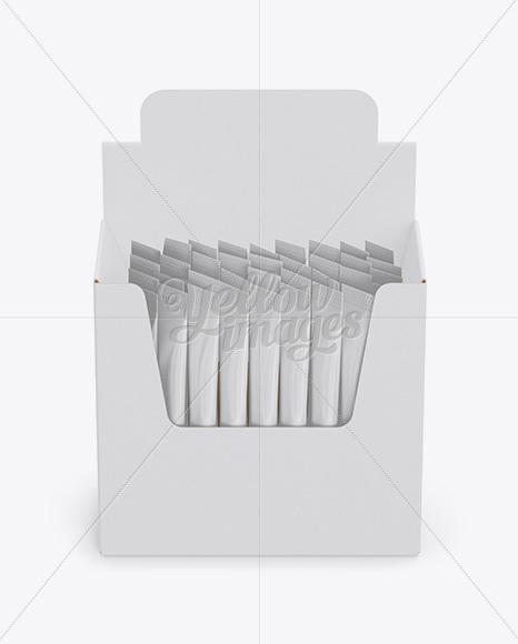 Download Closed 36x Sachets Box Mockup Front View High Angle PSD - Free PSD Mockup Templates