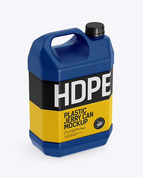 Download Plastic Jerrycan W/ Screw Cap Mockup - Half Side View (High-Angle Shot) Object Mockups