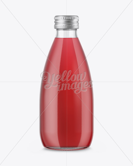 Clear Glass Bottle With Red Drink Mockup