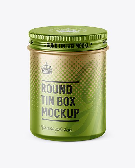 Download Free 100ml Matte Metal Round Tin Box Mockup - High-Angle Shot PSD Template