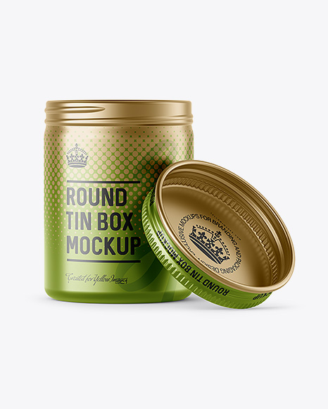 100ml Open Matte Metal Round Tin Box Mockup - Front View