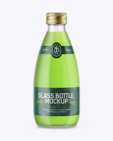 Clear Glass Bottle with Green Drink Mockup