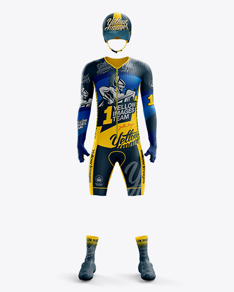 Men's Full Cycling Time-Trial Kit mockup (Front View)