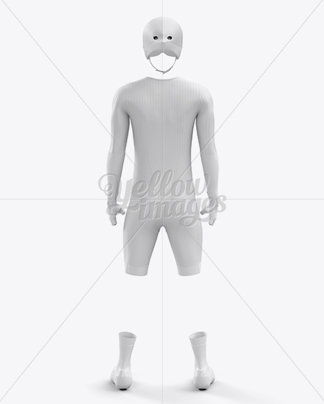 Men's Full Cycling Time-Trial Kit mockup (Back View)