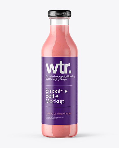 Download Clear Glass Bottle with Strawberry Smoothie Mockup Object Mockups