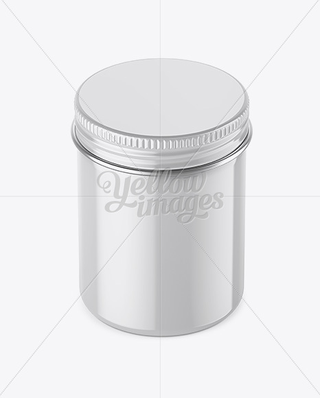 100ml Round Tin Box with Glossy Finish Mockup - High-Angle Shot