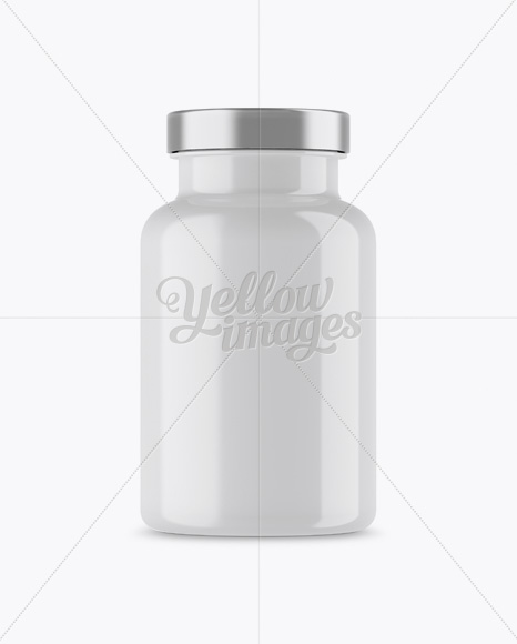 Glossy Pills Bottle With Paper Label Mockup