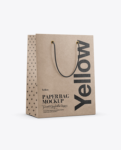 Kraft Paper Shopping Bag With Rope Handle Mockup