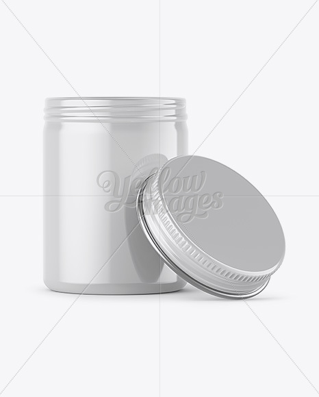 Download 100ml Open Round Tin Box With Glossy Finish Mockup Front View In Box Mockups On Yellow Images Object Mockups PSD Mockup Templates