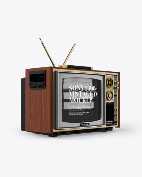 Download Sony 1300E Vintage Tv Mockup - Half Side View Object Mockups