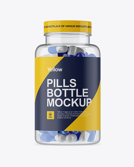 Clear Plastic Bottle With Glossy Pills Mockup