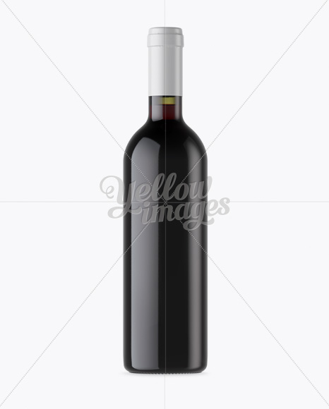 Antique Green Glass Bottle With Red Wine Mockup - Front View