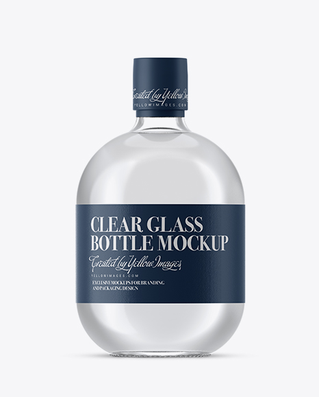 Clear Glass Bottle With White Rum Mockup