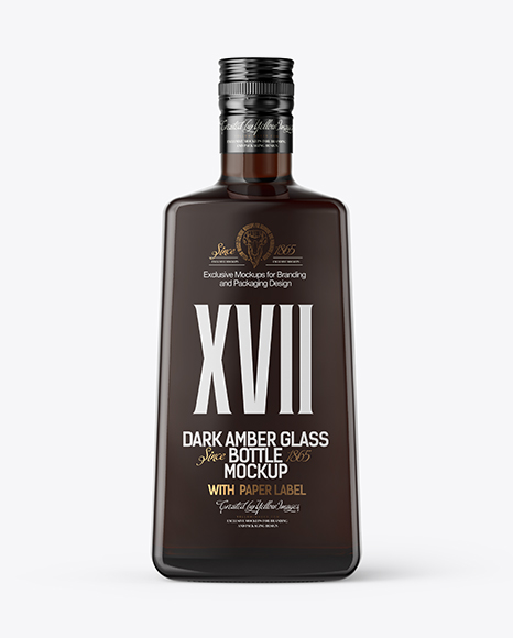 Square Amber Glass Black Rum Bottle Mockup