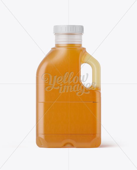 Frosted Plastic Jug With Honey Mockup - Side View
