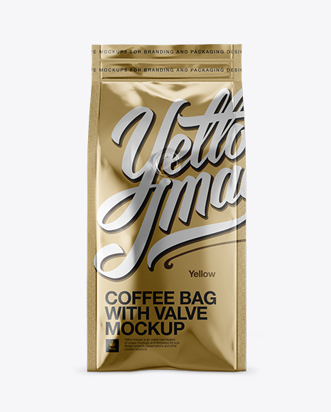 Download Metallic Coffee Bag With Valve Mockup - Front View Object Mockups
