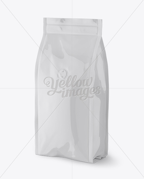 Glossy Coffee Bag With Valve Mockup - Half Side View