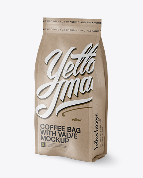 Download Kraft Paper Coffee Bag With Valve Mockup Half Side View In Bag Sack Mockups On Yellow Images Object Mockups PSD Mockup Templates
