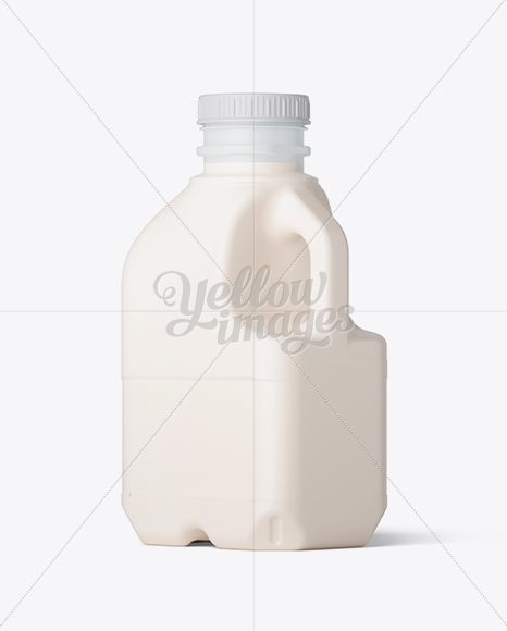 Frosted Plastic Jug With Milk Mockup - Back Half Side View