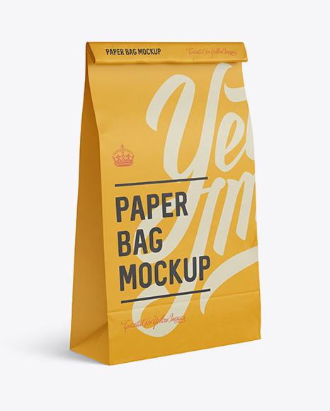 Paper Food/Snack Bag Mockup - Halfside View