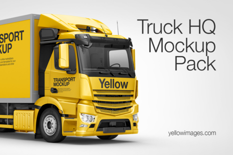 Download Truck Hq Mockup Pack In Handpicked Sets Of Vehicles On Yellow Images Creative Store PSD Mockup Templates