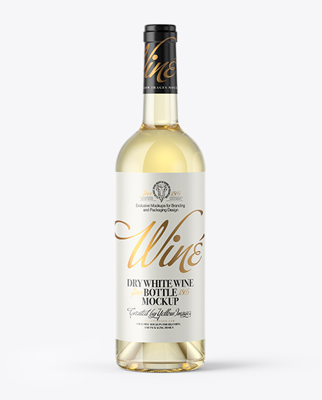 Download Free Clear Glass White Wine Bottle With Cork Mockup PSD Template