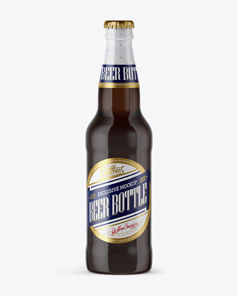 12 Oz Amber Beer Bottle Mockup