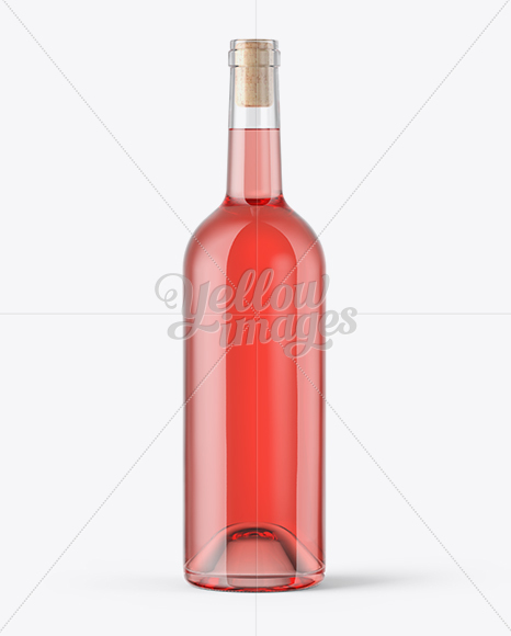 Clear Glass Pink Wine Bottle With Cork Mockup