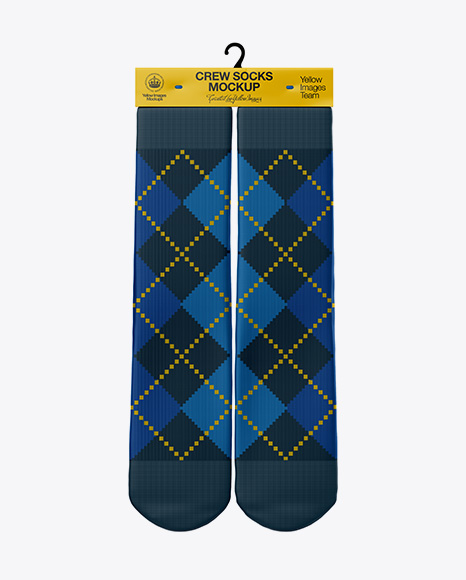 Download Free Pair Crew Socks Mockup - Front View PSD Template