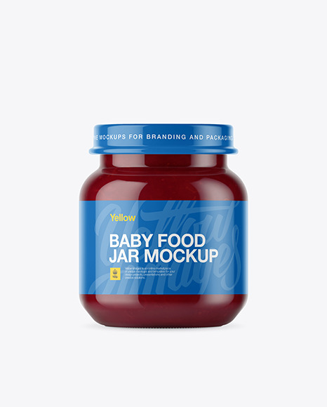 Download Baby Food Plum Puree Small Jar Mockup - Front View Object Mockups