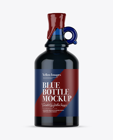 Download Blue Glass Bottle With Handle & Wax Top Mockup Object Mockups