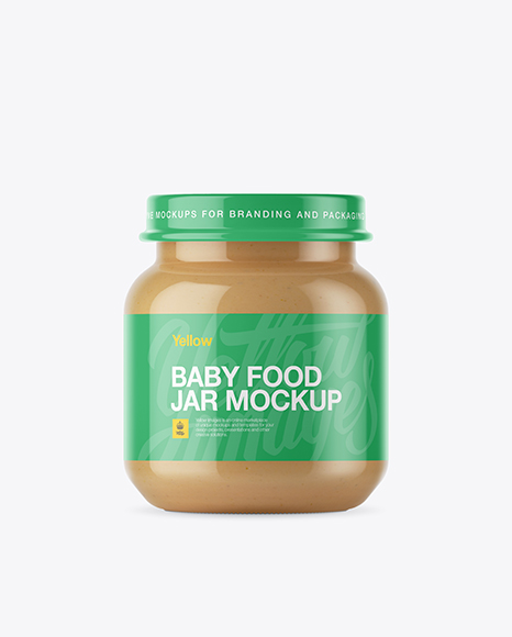 Download Free Baby Food Apple Puree Small Jar Mockup - Front View PSD Template