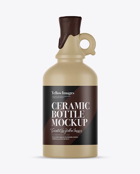 Download Matte Ceramic Bottle With Handle & Wax Top Mockup Object Mockups
