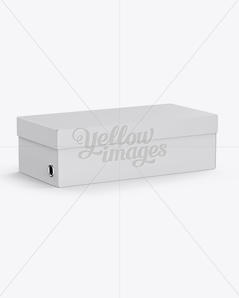 paper shoes box mockup half side view high angle shot in box