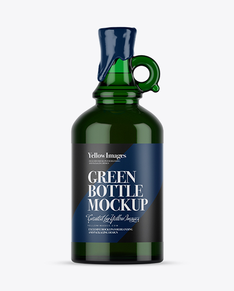 Download Green Glass Bottle With Handle & Wax Top Mockup Object Mockups