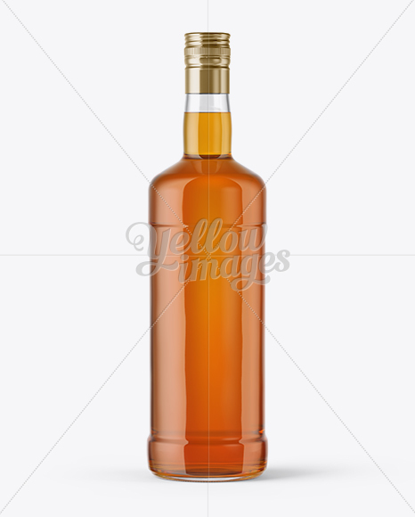 Clear Glass Bottle with Whiskey Mockup