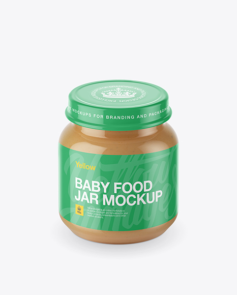 Download Free Baby Food Apple Puree Small Jar Mockup (High-Angle Shot) PSD Template
