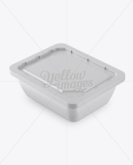 Plastic Container Mockup - Half Side View (High-Angle Shot)