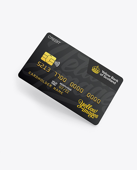 Download Free Credit Card Mockup - Half Side View (High-Angle Shot) PSD Template