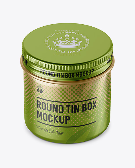 50ml Matte Metal Round Tin Box Mockup (High-Angle Shot)