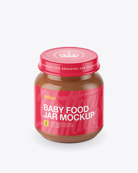 Download Baby Food Vegetable Puree Small Jar Mockup (High-Angle Shot) Object Mockups