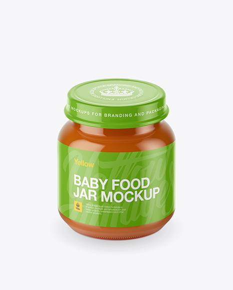 Download Baby Food Carrot Puree Small Jar Mockup (High-Angle Shot) Object Mockups