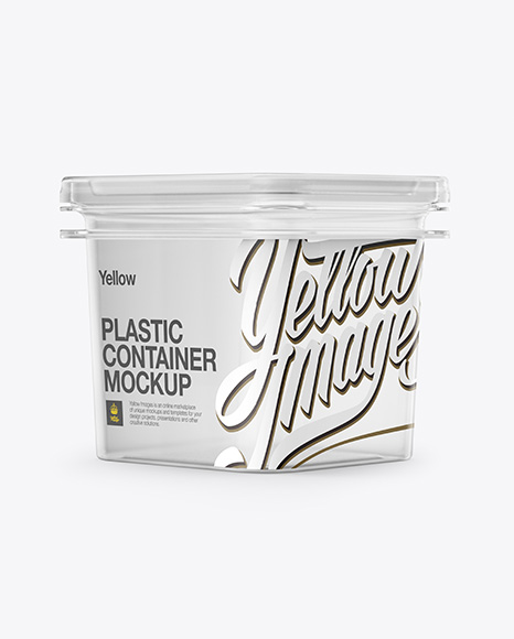 Clear Plastic Container Mockup - Half Side View