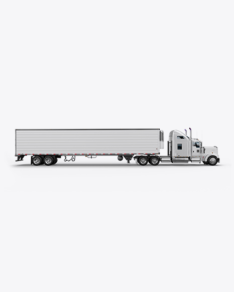 Kenworth Refrigerator Truck HQ Mockup - Side View