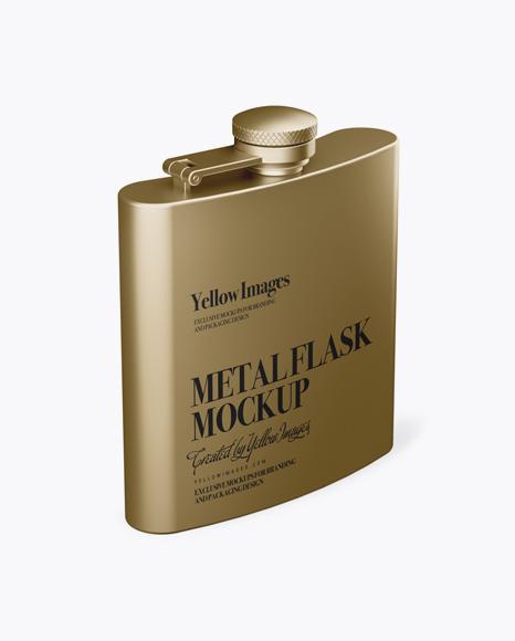 Download Metal Flask Mockup - Half Side View (High-Angle Shot) Object Mockups