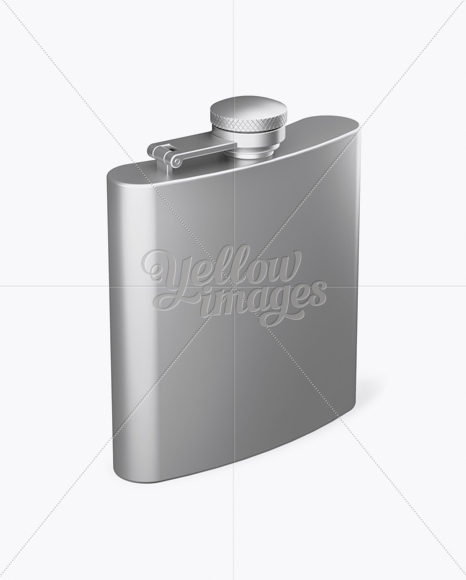 Metal Flask Mockup - Half Side View (High-Angle Shot)