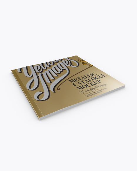Download Metallic Catalogue Mockup - Half Side View (High-Angle Shot) Object Mockups